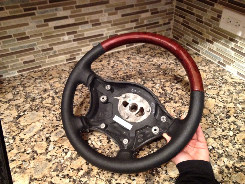 Wood leather steering wheel for mercedes benz sprinter for Mercedes benz wood steering wheel