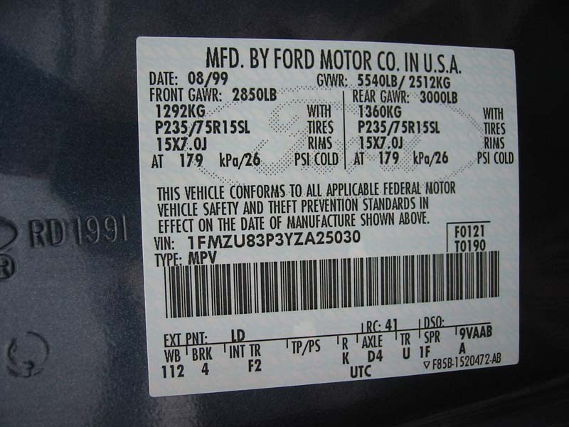2000 ford vin number codes submited images