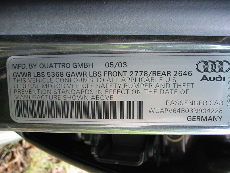 Audi vin check online latino
